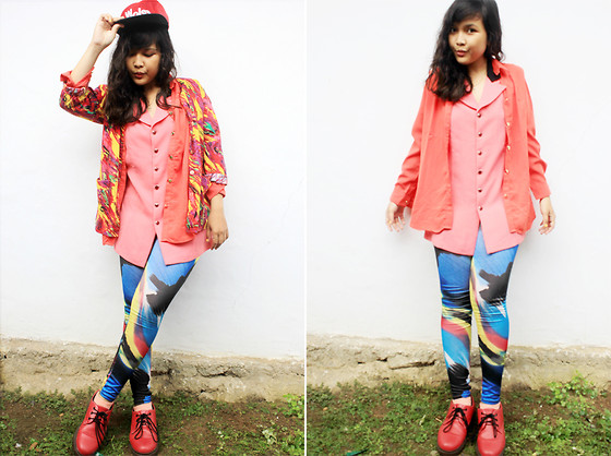 Ollyvia Laura - Woles Snapback, Cokelat Neon Top, Cokelat Printed Leggings, Dr. Martens Red Dr.Martens, Tigo's Pastel Socks - ELECTRIC NEON LIGHTS