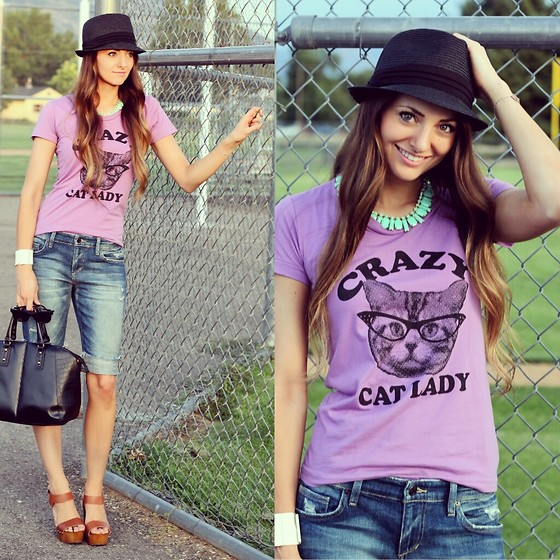 Jackie Welling - Skip + Whistle Cat Lady Tee, Joe's Jeans Boyfriend Shorts, Faith Wedges, Mossimo Black Fedora - Crazy Cat Lady