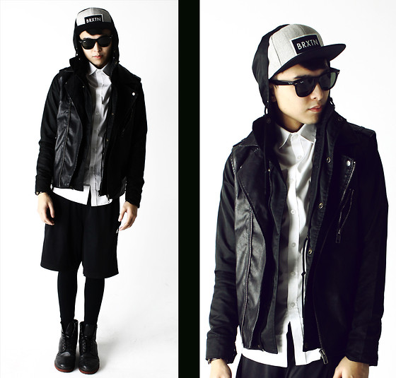 Mikyle Quizon - Forever 21 Vest, Ray Ban Wayfarer, Brixton Logo Hat - When all you see is black and white
