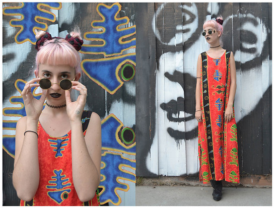 Flower Perdew - Sun Thrift 90s Tribal Maxi Dress, Giant Vintage Sunglasses Circle Glasses, Cheap Monday Form Oxfords - Gone
