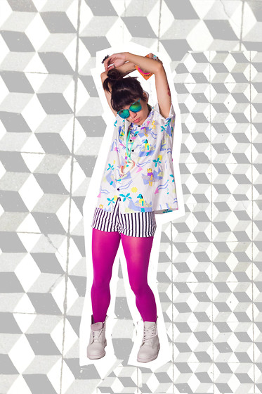 Daniela Nutz - Gradient Sunglasses, Lazy Oaf Print Button Shirt, Lola Stripe High Waisted Shorts, Betsey Johnson Magenta Leggings, Dr. Martens White Pascal Combat Boots - LAZY