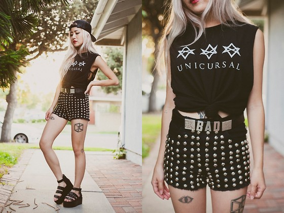 Eugénie Grey - Once Youth Unicursal Hexagram Tank, The Editor's Market Studded Shorts, Love Bad Belt, Love Bad Snapback, Wholesale 7 Blacked Out Spiked Platform Sandals - Unicursal