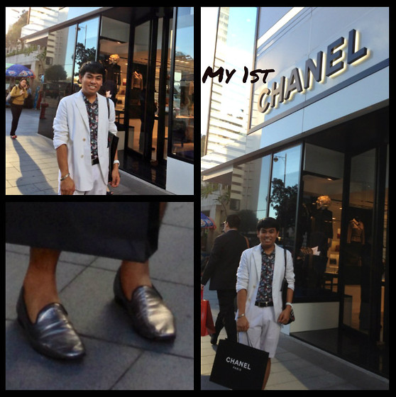 Jade Manalac - Jil Sander White Blazer, Topman Hawaiian Short Sleeve Shirt, Chanel Watch, Brioni Black Leather Belt, Canadian Club White Chino Bermuda, Asos Metallic Silver Leather Loafers - My 1st CHANEL