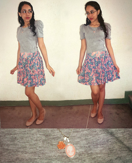 Lídia Rayanne - Cotton T Shirt, Flowery Skirt, Flat Shoes, Cameo The Label Necklace - Lost in Jane