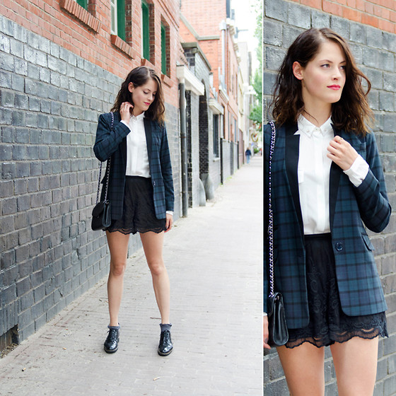 Renée Sturme - Warehouse Jacket, Mango Blouse, Topshop Lace Shorts, Rebecca Minkoff Quilted Purse - Tartan