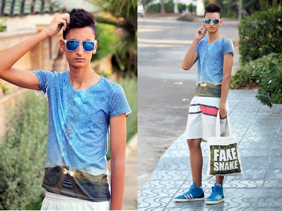 Anass Louasfi - Choies T Shirt With Milky Waypattern, Choies Square Blue Lens Sunglasses, Souve Fake Snake Bag, Tommy Hilfiger Short, Titimadam Necklace, Adidas Proof - FAKE SNAKE !