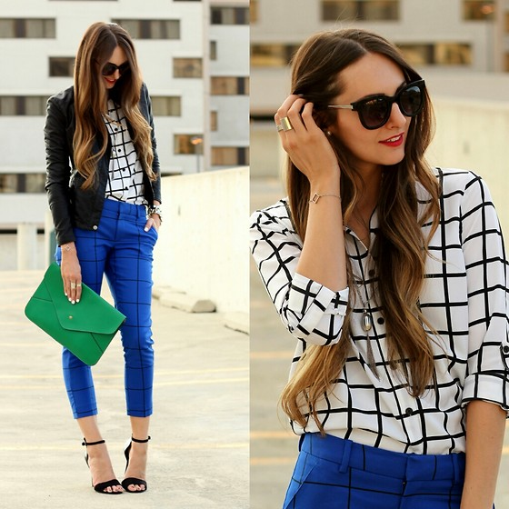 Jackie Welling - Forever 21 Grid Print Shirt, Merona Grid Print Pants, Zerouv Sunglasses, Forever 21 Faux Leather Jacket, Ebay Green Clutch, Justfab Black Heels - Grid Print Pairing