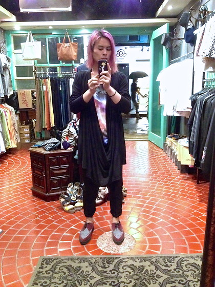 Hipsterken P - Drop Cardigan, Little Baby Nothing Galaxy Tank, Underground Creeper, Dress Pant - Rainy day ! boring day !