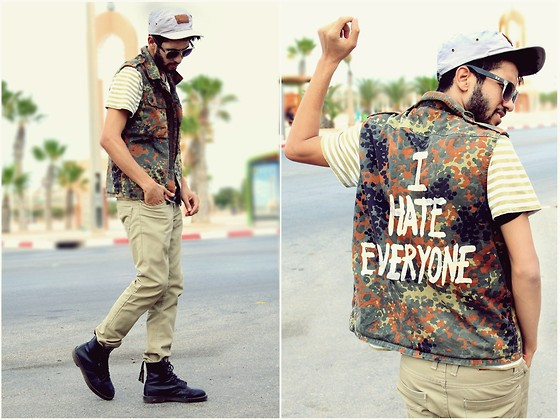 HAMID KHOUYI - German Army I Hate Everyone , Parka, Supreme Edit With Leather, Zara Slimfit, Dr. Martens Black - I HATE EVERYONE