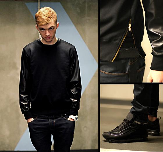 Sammy Sosa Whitzky Black Leather Sleeves Sweatshirt, Zara