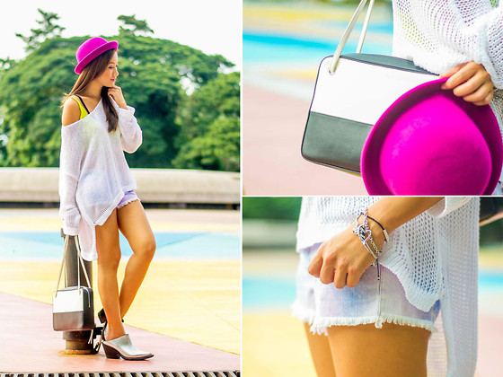 Laureen Uy - H&M Hat, Guess? Croset, Guess? Top, Guess? Shorts, Céline Bag, Acne Studios Shoes, Guess? Bracelets - Rainbow (BMS)