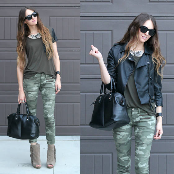 Jackie Welling - Forever 21 Faux Leather Sleeve Tee, Gap Camo Skinny Jeans, Bcbg Fringe Booties, Asos Faux Leather Biker Jacket, Zerouv Sunnies - Fringe Booties & Camo