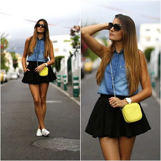 Marianela Yanes - Lefties Blouse, Chicnova Skirt, Zara Bag, Gap Sneakers - Denim is always a good choice
