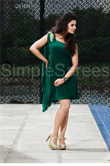 Simple Sarees Simple Sarees 1 Piece Western Dress Green Lycra Net One Piece Dress Lookbook