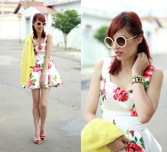 Glena Martins - Sheinside Floral Dress, Sheinside Coat, Melissa Lady Dragon, Romwe Round Sunnies, Miniminou Spikes Bracelet, Kafé Acessórios Bracelet - Cloudy day, Floral dress