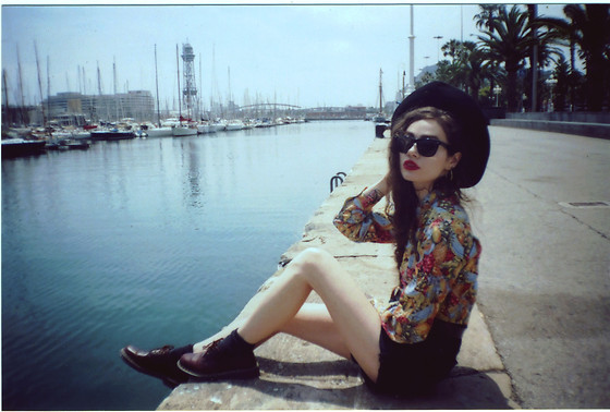 Violet Ell - Shirt, Diy Denim Shorts, Thrift Store Hat, Ray Ban Sunglasses, Dr. Martens Boots - --.07.2013