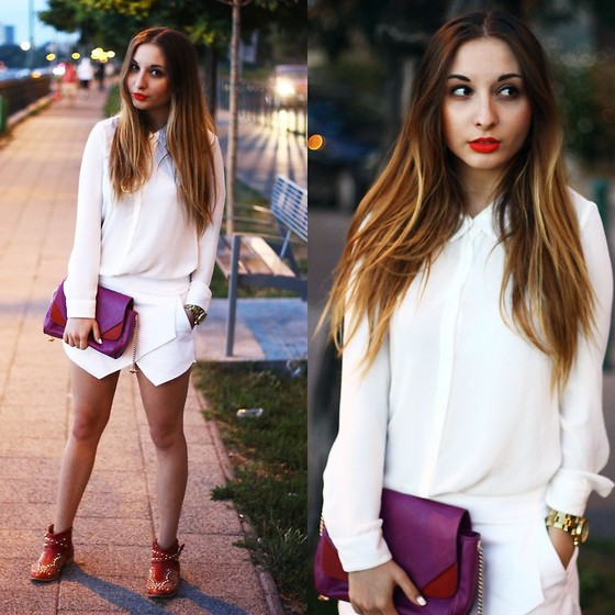 Aliz M - H&M Shirt, Zara Skort, Zara Studded Boots, Zara Bag - LIGHTS ON