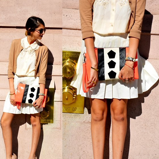 Lainey G - Forever 21 Collared Top, Vintage Skirt, H&M Purse, Forever 21 Cardigan, Bcbg Bracelet - Post Labor Day Whites