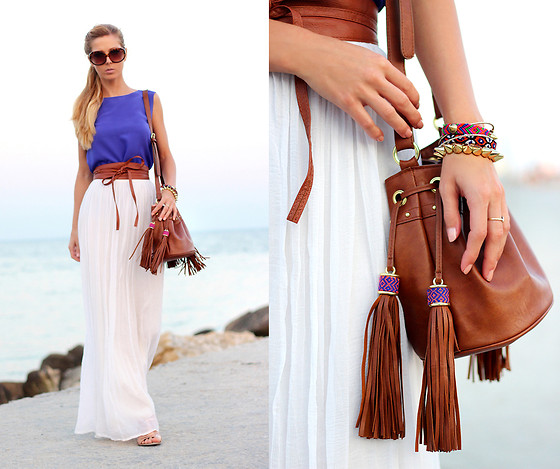 Sirma Markova - Choies Top, Let Them Stare Maxi Skirt, H&M Bag, Bershka Sandals, Mango Sunglasses - Boho Tassels