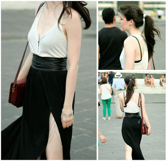 Kris * - Self Made Bodychain, Leather Wrap Waist Belt, Bershka White Top With Mesh And Zipper, Self Made Black Wrap Maxi Skirt, Vintage Handbag, H&M Hair Cuff, H&M Geometric Earrings - Splits & Bodychains