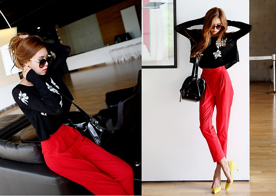 Seung Yeon - Itsmestyle Black Thin Knit - Casual sexy look
