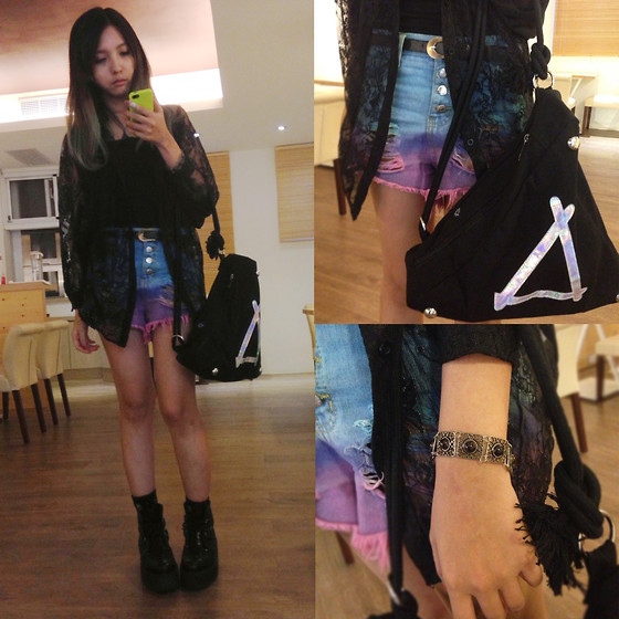 Zelia Su - Shape Laser Triangle Bag, Bracelets, Colorful Shorts, Underground Boot - I LOVE TRIANGLE