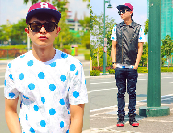 Mikyle Quizon - Topman Snapback, Guess? Christian Sneakers, Topman Oversized Shirt, Zara Denim Jeans, Forever 21 Leather Vest - I heard polka dots