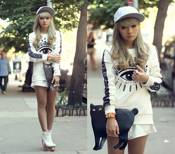 Anastasia Siantar - Kenzo Eye Sweatshirt, Shorts, Kenzo Snapback, Cat Purse, Jeffrey Campbell Icy Doll - NYFW Day 3 (part 1)