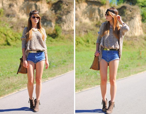 Ania Pałka - Oasap Sweater, Sheinside Shorts, Stradivarius Bag, Boots - Hippie