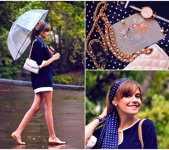 Anastasia K. - Drs Deerose Dress, Rebecca Minkoff Bag, Zara Umbrella, Bruce Field Scarf, Daniel Wellington Watches, Marc By Jacobs Ballerinas - September rain. :)