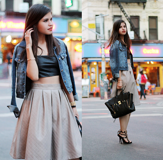 Adriana Gastélum - Choies Faux Leather Bralet, Chic Wish Textured Faux Leather Skirt, 3.1 Phillip Lim Medium Pashli, Choies Wing Heels - NYFW: Day 5