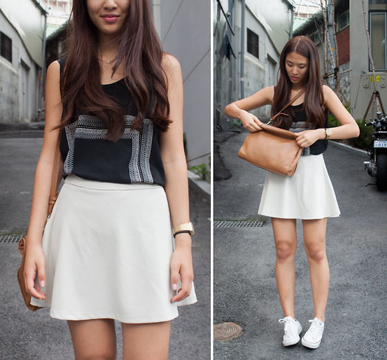 Melanie L - Mango Shirt, Top10 Skirt, Zara Bag - Waves