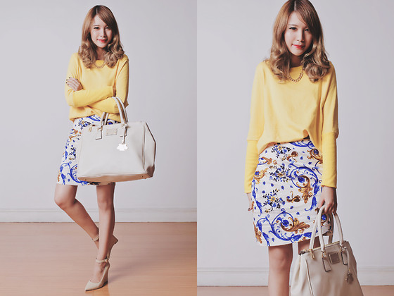 Tricia Gosingtian - Woakao Skirt, Woakao Sweater, Persun Necklace, Mango Wedges, Paulina Schaedel Bag - 091513
