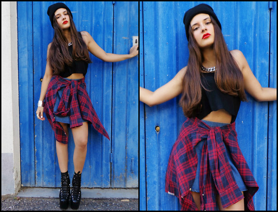 Inês Prates - Denim Skirt - DENIM SKIRT AND PLAID SHIRT