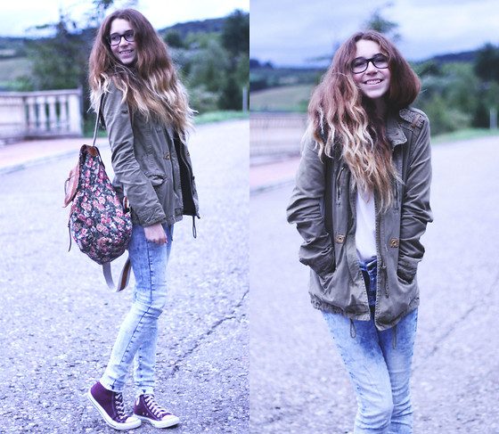 Francesca S - Bershka Coat, Brandy Melville Usa Backback, Vero Moda Jeans, Converse Chucks - Ready for autumn