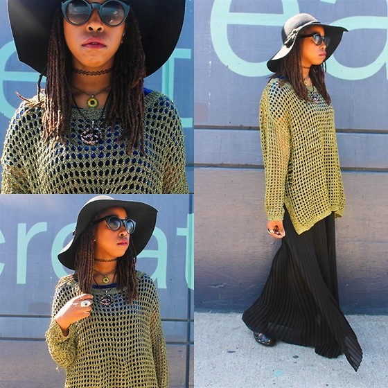 Martina McFarlane - Glow Worm Shop Hazel Eye Necklace, Bcbg Tube Maxi Dress (Wore As A Skirt), Bebe Wool Hat, Zerouv Kitti Shades, Necessary Clothing Oversized Olive Jumper - Conspire To Ignite