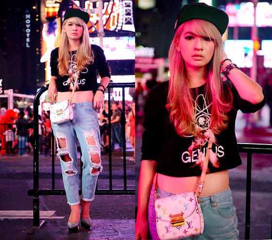 Anastasia Siantar - Forever 21 Genius Shirt, Shredded Jeans, Snapback, Louis Vuitton Mini Heartbreaker, Charlotte Olympia Dolly Pumps - Times square