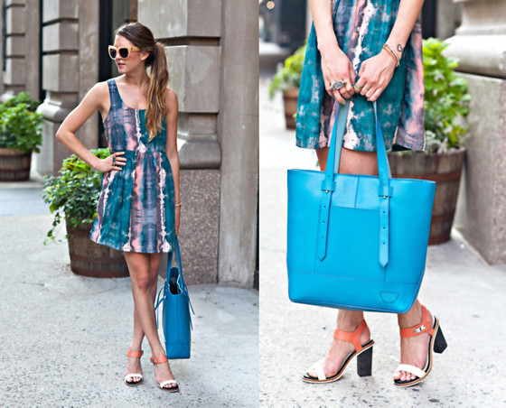 Laura Ellner - Urban Outfitters Dress, Iiibeca By Joy Gryson Tote, Rag & Bone Sandals - Dyed Down