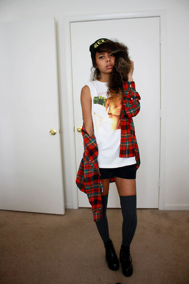 Alexis Brooks - Urban Relaxation Relax Beanie, Ralph Lauren Plaid, Hot Topic T Shirt, Express Shots, Windsor Thigh Highs, Chunky Boots - LADY JOKUH