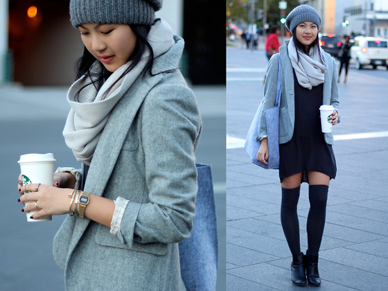 Dahye J - Gap Blazer, H&M Dress, Target Shoes - Shades of gray