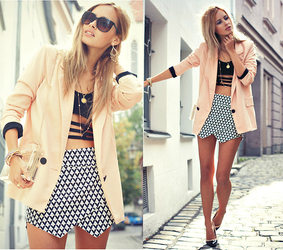 Daisy R. - Sheinside Shorts, Choies Acryl Clutch, Sheinside Nude Blazer, Wow Vintage Sunnies - HOMER