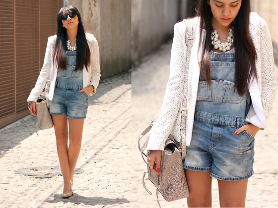 Jennifer Aranda - Pull & Bear Denim Short Overalls, Marc By Jacobs Crochet Blazer, 3.1 Phillip Lim Pashli, Zara Pearl Necklace, Prada Nude Stiletto - Over all