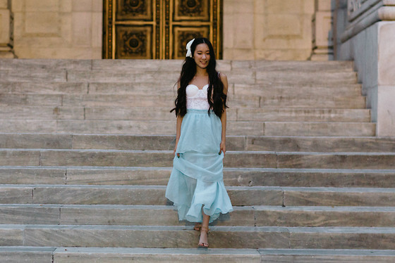 Jennifer Wang - Forever 21 White Bustier, Chic Wish Light Blue Maxi Skirt - CINDERELLA INSPIRED
