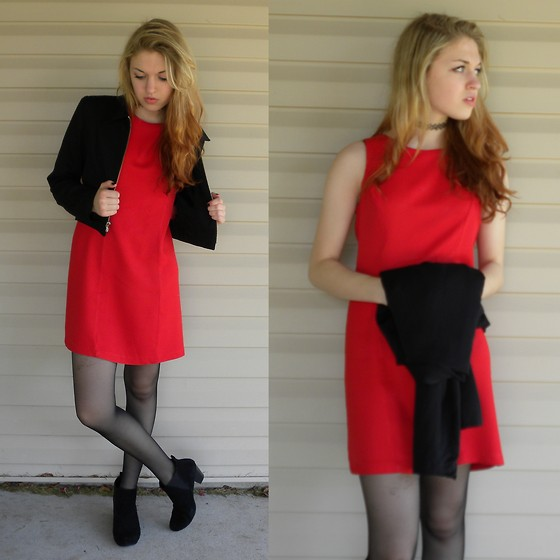 red dress with booties
