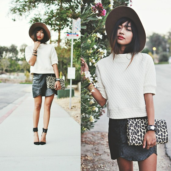 Heliely Bermudez - Shoppiin.Com Ost Mini Skirt, H&M Leopard Clutch, Zara 3/4 Sleeve Jumper, Threadsence.Com Keira Panama Hat, Zara Pointed Heels - Playing w/ Textures