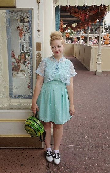 Kate Gabrielle - Vintage Lace Jacket, Payless Saddle Shoes, Kmart Smiley Face Backpack, Modcloth Candy Dots Dress - Candy dots