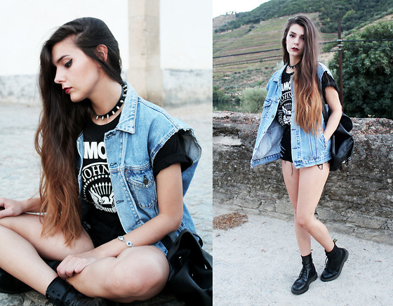 CLAUDIA Holynights - Levi's® Levis Vest, Ramones T Shirt, Unicorn Division Denim Shorts, Dr. Martens Docs - Sheena is a Punk Rocker