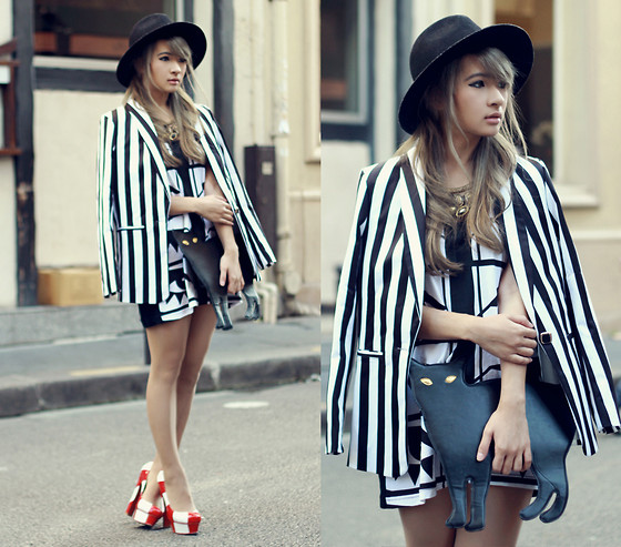 Anastasia Siantar - American Apparel Dress, Striped Blazer, Black Cat Bag, Cherry Twist Pumps - Kesh!