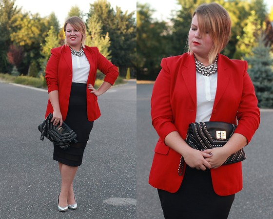 Judit Gergely - Vintage Blazer, H&M Necklace, Clutch, F&F Blouse, Asos Pencil Skirt, F&F Shoes - Poppy red