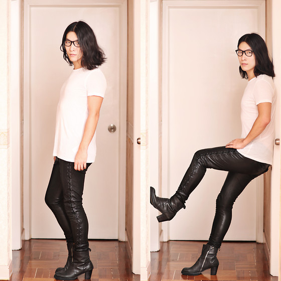 Philip Mak - H&M White Tee, All Saints Lace Up Pants, Rick Owens Leather Boots - Lacing Up